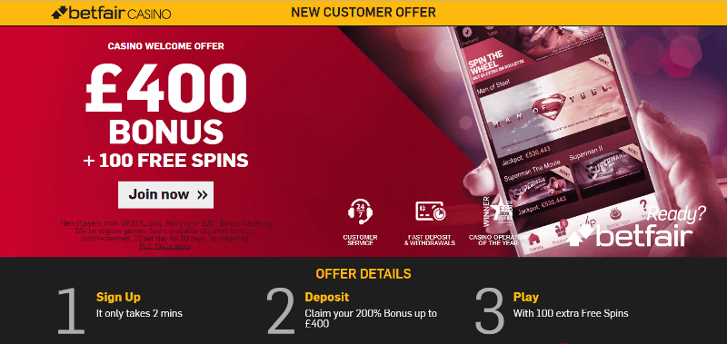 Betfair casino 25 free spins